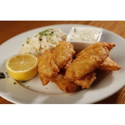 Beer-battered cod fillets